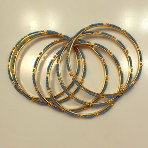 Set of 6 Gold and Turquoise Bangles